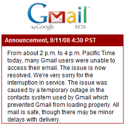 Gmail down on 8/11/2008