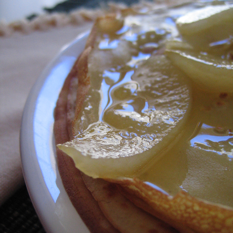 Caramelized pear pancakes