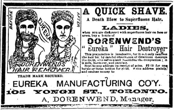 Ladies' Journal ca 1888 Dorenwend's Hair Remover
