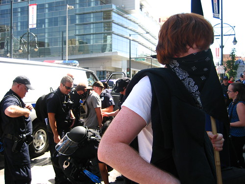 Anarchist arrested outside convention center
