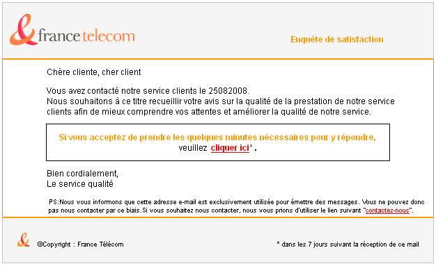 Orange - France Télécom me demande ce que je pense de leur service...