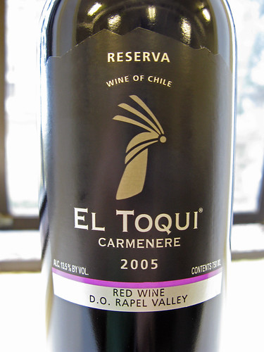 Bottle of El Toqui Carmenere wine