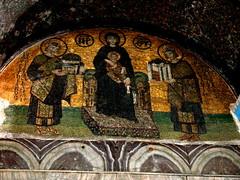 Mosaic detail from Hagia Sophia (yasmindalal) Tags: art church architecture turkey architecturaldetail muslim islam turkiye istanbul mosque christian tiles hagiasophia