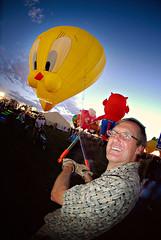 Holding Tweety Down . . . (Niko Miguel) Tags: newmexico balloons fire lights nikon flames gas fisheye hotairballoon niko nikondigital gpg fps fpc nikond200 albuquerquenewmexico strobist nikonstunninggallery nikogvillegas nikkor105mmf28fisheye 2008balloonfiesta