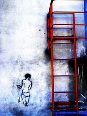 Looking Back, Dunedin (ms sdb) Tags: street buildings naked staircase dunedin walls stencilart dunedinstreetart