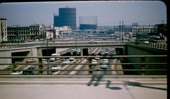 Look east at Freeways (Metro Transportation Library and Archive) Tags: losangeles traffic streetcar gasholders hovlane latl losangelestransitlines dorothypeytongraytransportationlibraryandarchive highoccupancyvehiclelanes railexterior historypin