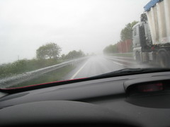 Rain on autobahn - with trucks