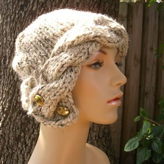 Chunky Cabled Cloche Hat in Oatmeal with Vintage Buttons