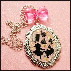 Run Alice Run  (stOOpidgErL) Tags: pink cute rabbit bunny clock mushroom glitter silver gold diy necklace pretty handmade craft jewelry plastic kawaii cameo resin pendant aliceinwonderland stoopidgerl