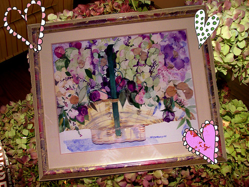 pink-hydrangea-painting-framed