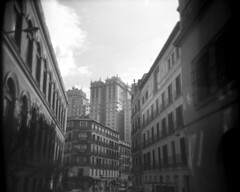 Madrid Architecture (giampaolomajonchi.it) Tags: madrid travel summer bw film holga spain cityscape toycamera plastic architectura