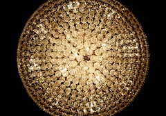 Gleaming, All-Seeing Eye (Amanda SG) Tags: light food austin circle gold restaurant rainbow texas crystal chinese prism sparkle chandelier round buffet fujian fixture sparkly i35 fujiangrandchinabuffet