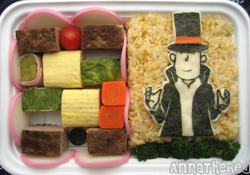 Professor Layton bento! by kickintheheadcomic.