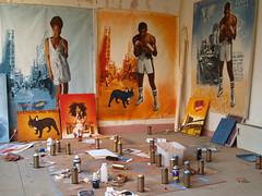 Bordel (Tian (Chris a.k.a)) Tags: street france art painting paper studio poster stencil europe paint acrylic tian spray peinture painter aerosol lemans bombe pochoir ian