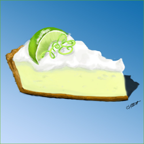 key lime pie in blue