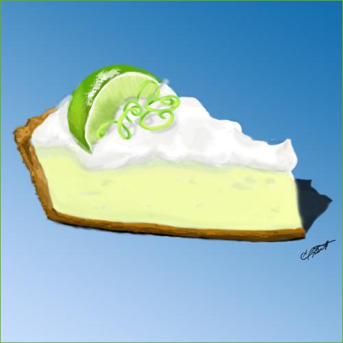 key lime pie in blue