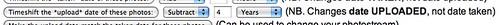 Captura de pantalla de h4ppierphotos cambiando la fecha cuatro años al pasado