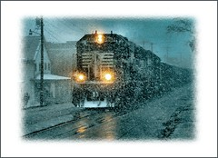 Let it Snow (Images by A.J.) Tags: street railroad winter snow west squall train pennsylvania ns main norfolk snowstorm rail railway trains running southern pa transportation flurries coal blizzard freight flurry brownsville   washingtoncounty