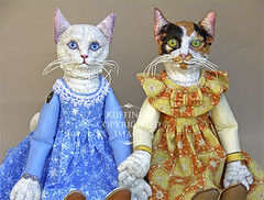 """""""Snowbelle and Hedda"""" by Max Bailey (ruffingsartdolls) Tags: original girls cats baby white art girl animal yellow cat gold kitten doll acrylic folkart dolls babies handmade ooak painted kittens artdolls handpainted calico angora artdoll turkish sculpted anthropomorphic jointed paperclay maxbailey"""
