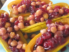 Fried Chickpea and Port Soaked craisin stuffed delecata squash