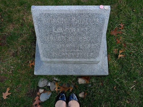 my feet and h.p. lovecraft's grave