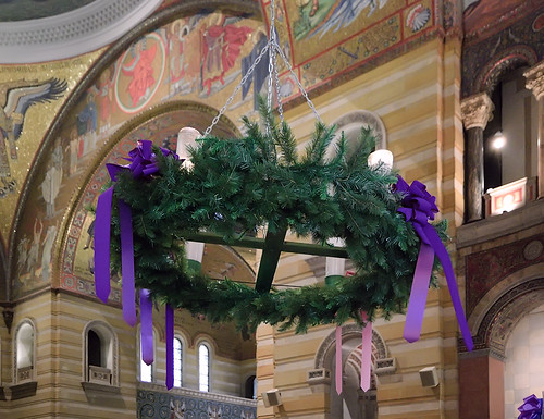 Advent wreath, and the Cathedral Basilica of Saint Louis, in Saint Louis, Missouri, USA