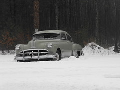 Sitting Pretty in the Woods (**Ms Judi**) Tags: old trees winter white snow tree green classic abandoned beauty car wisconsin forest vintage lost woods pretty sitting antique gorgeous awesome mint headlights chrome forgotten bark pontiac left wausaukee 4door explored starchief msjudi judistevenson