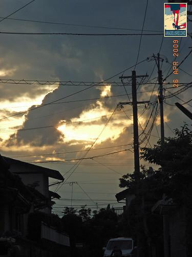 今日の夕方の空は神秘的だったよ!