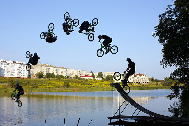 bmx lake jump