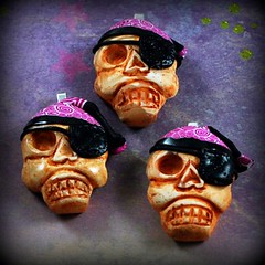 Pirate Skull Pendants in magenta