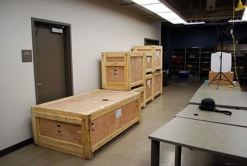 Crates arrive