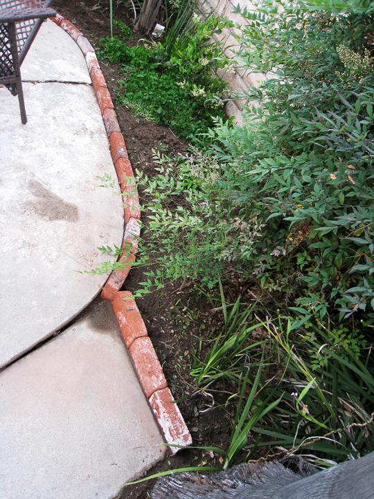 Brick lined garden planter 3