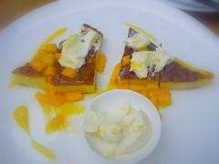 double baked pancake mascarpone and mango compote