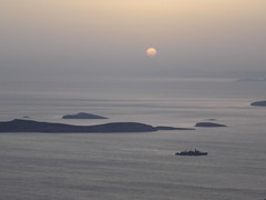 WAR SHIP in the SUNSET in Greece, Andros (dimitra_milaiou) Tags: life above sea summer sky sun art beach nature night dark painting landscape boats island greek grey boat war europe paint ship view balcony sony horizon hellas greece summertime emotions andros cyclades dimitra batsi dscp93a  aigaio   balkonitouaigaiou milaiou