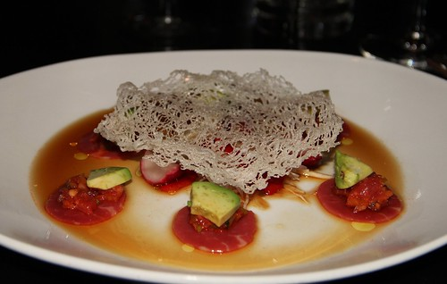 Beef tartar in a ponzu sauce with avocado