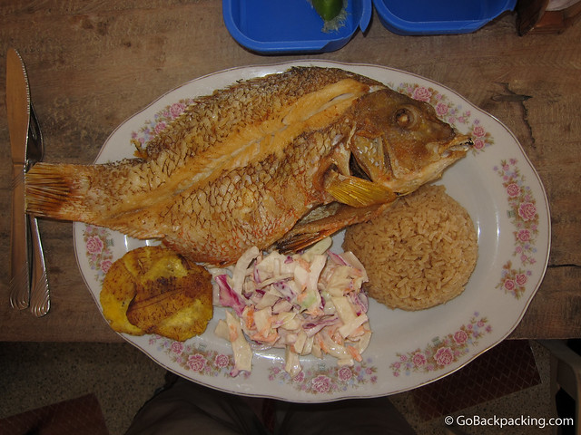 Pargo (red snapper) with coconut rice