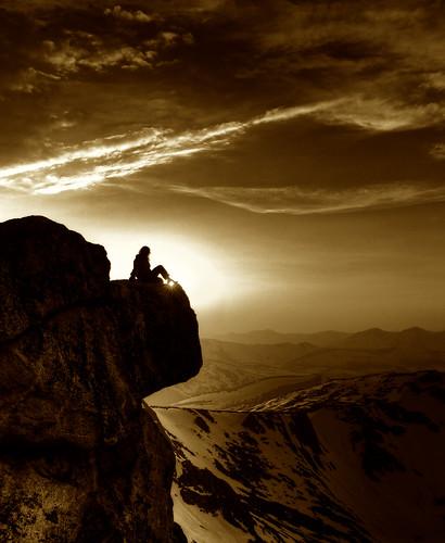 フリー写真素材, 人物, 人と風景, 山, 岩山, アメリカ合衆国, コロラド州, セピア,