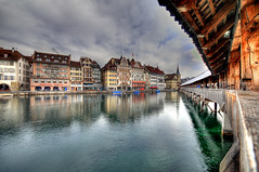 lucerne in march (Toni_V) Tags: topv111 schweiz switzerland europe perspective luzern 2008 lucerne hdr chapelbridge kapellbrcke reuss d300 sigma1020mm photomatix 5exp toniv diamondclassphotographer theperfectphotographer toniv 07032008
