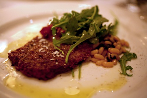"Pig's Foot ""Milanese"" with Rice Beans and Arugula"