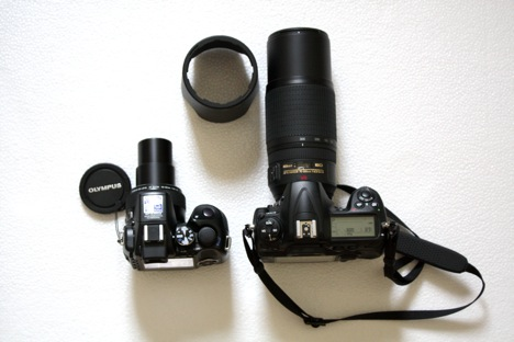 Olympus SP-570UZ and the Nikon D300 plus Nikkor 70-300mm VR lens (with the lens hood off) side-by-side IMG_0270.JPG