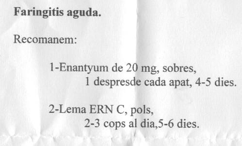 receta médica escrita con el ordenador