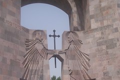 the Entrance of Echmiadzin Cathedral , Armenia (Alexanyan) Tags: city church monument king cross entrance holy armenia hay gregory orthodox entry armenian caucas echmiadzin armenians cathderal caucasia hayastan