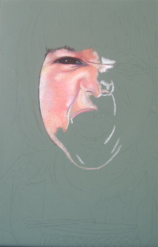 In progress photo of colored pencil drawing entitled Rawr!