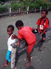 Beneraf village (Mangiwau) Tags: new boy playing west boys guinea village kampung papua kampong nouvelle melayu manusia irja guinee sarmi irian papouasie kribo irianese beneraf