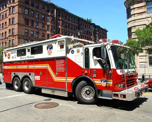 "R001s FDNY ""Spirit of Oklahoma"" Rescue 1 Fire Truck, Upper West Side, New York City"