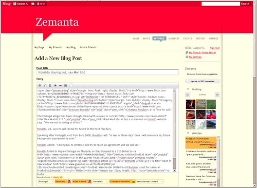 Zemanta on Ning