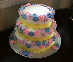 Anniversary cake (mandrake68) Tags: apple yellow cake three cara blossoms strawberries icing vanilla ribbon tier