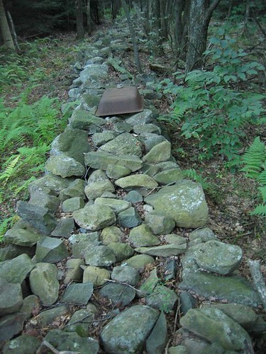 Old stones piled in a line