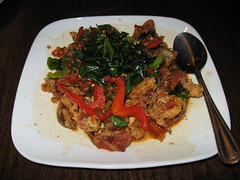 SriPraPhai: Saute fried soft shell crab with chili, garlic and basil leaves