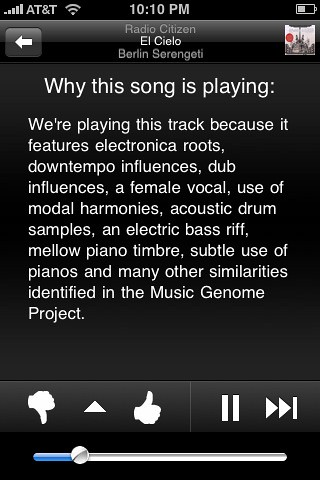 Pandora on the iPhone